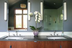 colors and light fixtures .Raleigh Hills Mid-Century - contemporary - bathroom - portland - Fig. Studio Architecture + Interiors