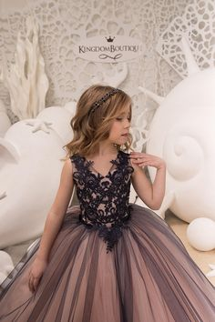 Navy and Pink Flower Girl Dress Birthday Wedding Party