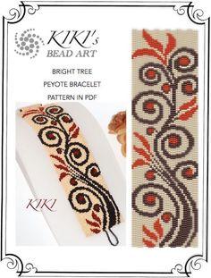 Pattern, peyote bracelet - Bright tree in autumn colours peyote bracelet pattern in PDF instant download