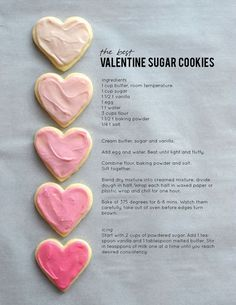 The best Valentine sugar cookie recipe It's a Valentine tradition for us to make our favorite sugar cookies for the holiday. They have been coined The Best Valentine Sugar Cookies ever. Valentine Desserts, Valentine Sugar Cookie Recipe, Valentine Cookies, Valentines Day Treats, Holiday Treats, Best Sugar Cookie Recipe, Valentines Baking, Kids Valentines, Heart Sugar Cookies Recipe