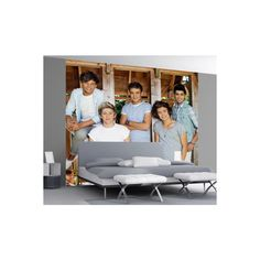 One Direction Barn Wall Mural Wallpaper Mural ($80) ❤ liked on Polyvore featuring home, home decor, wallpaper, music home decor and music wallpaper