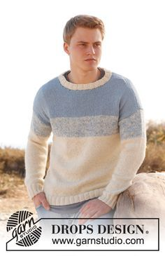 Hand knitted mens alpaca sweater jumper in two colours - S - XXXL - made to order - mens clothing - gents knitwear Knitting Patterns Free, Free Knitting, Free Pattern, Sweater Jacket, Men Sweater, Drops Design, Mens Jumpers, Knitwear, Sweaters