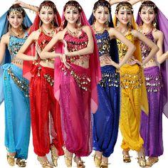 Women Oriental Dancing Bellydance Wear Set Tribal Belly Dance Dress Purple Red Blue Yellow Pink