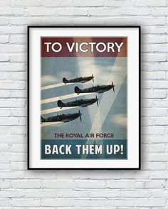 Retro poster, World War 2 poster, Propaganda poster, WWII print, Planes poster, Vintage Retro Poster, Wall Decor, Air force