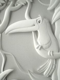 Este foi um trabalho muito legal de fazer. As três esculturas foram criadas para ilustrar o catálogo da Ninali, marca infantil da Fruto da I... Paper Clay Art, 3d Paper Crafts, Arts And Crafts, Mural Painting, Mural Art, Kirigami, Thermocol Craft, Home Decor Hooks, Ribbon Cards