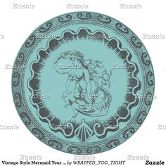 Vintage Style Mermaid Your Color Round Paper Coaster
