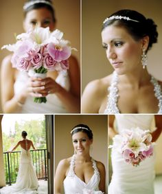 Bridal bouquet of bride's favorite flowers - white Casablanca Lilies, pink Phalaenopsis Orchids, and lavender Roses - design by Heather Murdock of The Blue Orchid (image by Silvana Di Franco Photography)