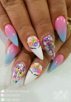 Adorable and cute unicorn nail art, unicorn nails designs, coffin nails, nails Unicorn Nails Designs, 3d Nail Designs, Acrylic Nail Designs, Beautiful Nail Art, Gorgeous Nails, Love Nails, Pretty Nails, 3d Nail Art, Rainbow Nails