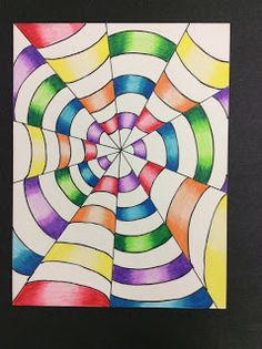 I love Op Art and I thought it would be the perfect lesson to teach Art how to use colored pencils. We began by discussing Op Art, M. Escher, Victor Vasarely, and Bridget Riley. Then we discu Illusion Kunst, Illusion Drawings, Illusion Art, Op Art Lessons, Art Lessons Elementary, Easy Op Art, Bridget Riley Op Art, Colored Pencil Tutorial, Abstract Paintings