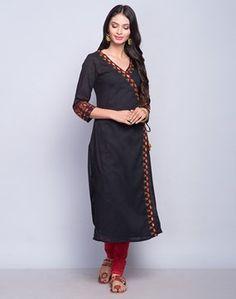 Cotton Slub Anghrakha Mirror Embroidery Long Kurta