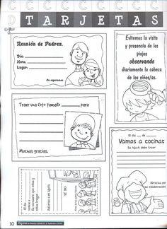 Tarjetas para notificar reuniones de padres, o informar en casa de las cosas del colegio. Comunicación con los padres