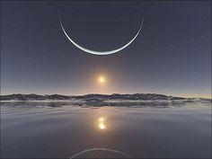 en el amb el somriure de la La sonrisa de la en el Polo Norte Sunset at the North Pole with the moon at its closest point. And, you also see the sun below the moon. Polo Norte, Beautiful Moon, Beautiful World, Beautiful Places, Beautiful Scenery, Beautiful Smile, Simply Beautiful, All Nature, Amazing Nature