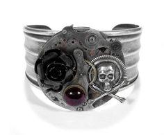 Steampunk Cuff - Vintage Watch Parts Silver Adjustable Cuff GRUNGED Gears Black Metal Rose Skull Bones Garnet - Steampunk by edmdesigns