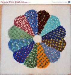 ON SALE Vintage Latch Hook Rug L A R G E Latch by JudysJunktion, $166.50