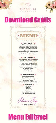 Menu de casamento para download editável, baixar grátis Menu de mesa.