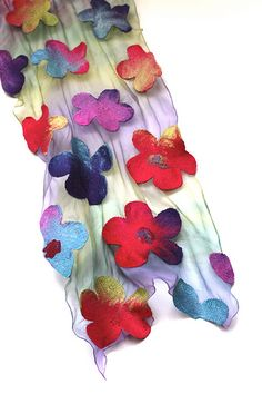 Nuno Felted Scarf. The details of colors and the design of the flowers are so inspiring,
