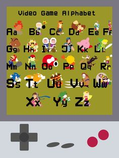 Video Game Alphabet  -I like how each character is bright and they all stand out. I like the use of block, bright colours and the images are simple.