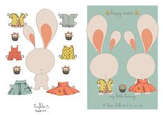 Great Easter printable. Paper dolls or in this case paper bunnies