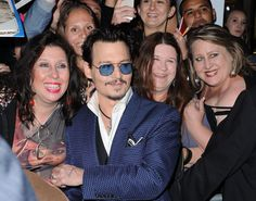 Sweet Johnny with fans at Transcendence Premiere LA (10/04/2014)