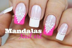 Decoración de uñas cortina Mandalas Mandala Nails, French Nail Art, Cute Nail Designs, Black Nails, Nail Tech, Toe Nails, Diy Hairstyles, Pedicure, Hair And Nails