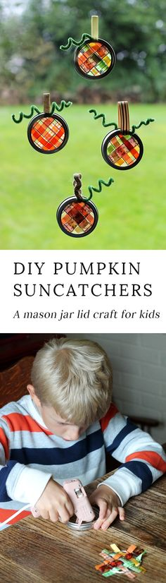 Just in time for fall, learn how to make vibrant pumpkin suncatchers with scraps of woven ribbon and mason jar lids. This weaving craft is perfect for kids! #pumpkincrafts via @https://www.pinterest.com/fireflymudpie/