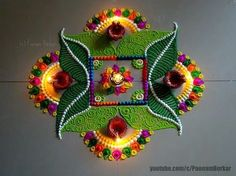 Diwali special easy rangoli design with 5*5 dots   Innovative rangoli designs by Poonam Borkar - YouTube