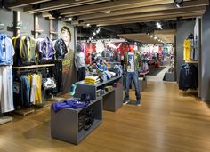 Sports Store   Retail Design   Shop Interior   Sports Display   Puma Store in Tokyo. Nice anthracite geometric display tables.