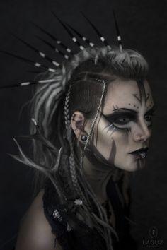 Model, make up: Machinefairy (self portrait)  photo/post process: Laguz photography   #2017 #antlers #blonde #costume #dreads #fairylocks #fairytale #fantasy #female #germany #gothgirl #gothgoth #machinefiary #magical #make up #mystical #mythical #mythological #natural light #pagan #pagangoth #piercings #self portrait #sidecut #strega #white hair #witch #wylde hunt