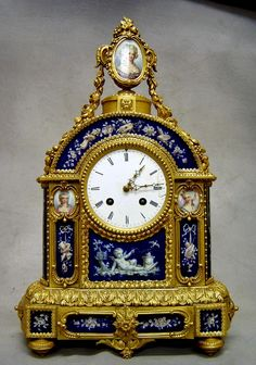 Antique French Louis XVI style ormolu & porcelain mantel clock. - Gavin Douglas Antiques