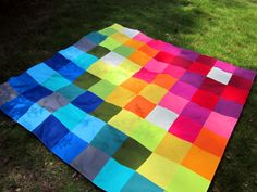 Bottled Rainbows Picnic Blanket by StitchedinColor