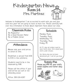 Sprinkles to Kindergarten!: Newsletters KINDERGARTEN NEWSLETTER ...