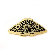 Hard Enamel pin of a Moth, gold and black, jewelry accessories, pins and patches, limited edition 100