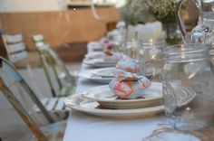 """""""Indulge"""" ~ Petite pie party favors were made and placed on each plate, wrapped up in a little fabric scrap, with a little tag cut from kraft paper."""