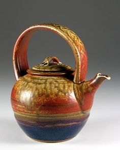 Stoneware teapot by Steve Irvine (southern Ontario) Pottery Teapots, Teapots And Cups, Ceramic Teapots, Glass Ceramic, Ceramic Pottery, Pottery Art, Teapots Unique, Tea Art, Chocolate Pots