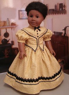 Corn silk yellow Civil war Gown Made for American Girl Doll Addy