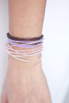 Ombre bracelet purple bracelet beaded by NotYourMomsJewellery Trendy Bracelets, Seed Bead Bracelets, Seed Beads, Bridesmaid Bracelet, Purple, Pink, Bangles, Gifts, Etsy