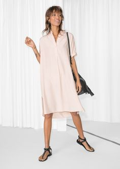 & Other Stories image 2 of Oversized Shirt Dress in Light Beige