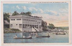 OLD 1921 PC VIEW OF BATHING PAVILION EXPOSITION PARK CONNEAUT LAKE PA