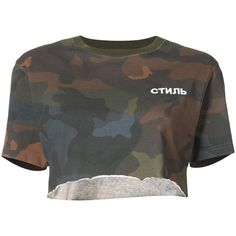 Heron Preston cropped camouflage T-shirt (1.325 BRL) ❤ liked on Polyvore featuring tops, t-shirts, brown, camo t shirt, brown tee, crop tops, camouflage tee and crop tee