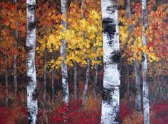 "google images contemporary paintings | ... "" 48 x 36 Original Acrylic Aspen / Birch Tree Painting on Canvas"