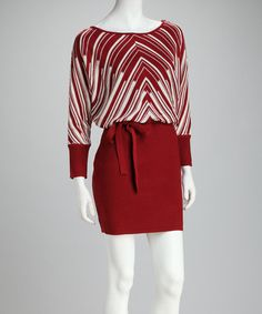 Take a look at this Tomato Stripe Tie-Waist Dress by Jessica Simpson Collection on #zulily today!