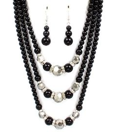 Image only link broken - Black and silver necklace - August 31 2019 at Jewelry Making Beads, Wire Jewelry, Jewelry Sets, Beaded Jewelry, Unique Jewelry, Jewelery, Jewelry Necklaces, Beaded Necklace, Jewelry Design
