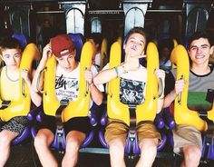 Imagine getting on a roller coaster and looking over to see these guys sitting there! I would freak out.