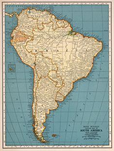 World map printable digital downloadntage world map old etsy vintage south america map digital download by antiquedigitalprint gumiabroncs Gallery