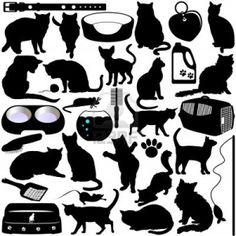 12119574-siluetas-de-gatos-gatitos-y-accesorios.jpg (1200×1200)