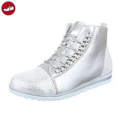 High-Top Sneaker Damen Schuhe High-Top 0 Sneakers Reißverschluss Ital-Design Freizeitschuhe Silber, Gr 39, 6019-Y- (*Partner-Link)
