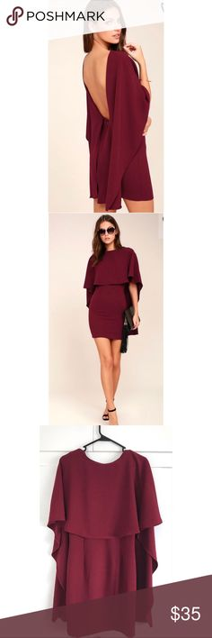 Lulus Best is Yet to Come Burgundy Backless Dress Lulus Best is Yet to Come Burgundy Backless Dress Dress is lined. Self: 95% Polyester, 5% Spandex. Lining: 100% Polyester. Hand Wash Cold. Made with Love in the U.S.A. Lulu's Dresses Backless