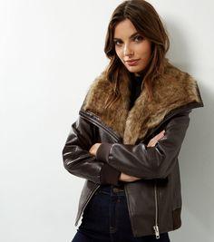 Dark Brown Faux Fur Collar Leather-Look Bomber Jacket  | New Look