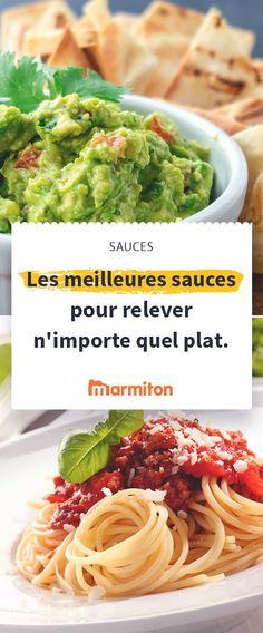 Rien de tel qu'une bonne sauce pour agrémenter et réhausser un plat de pâtes, une viande, du poisson ou des légumes #sauce #marmiton #recette #bolognaise #carbo #guacamole