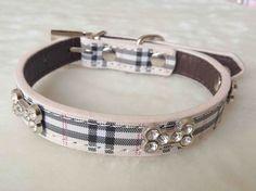 Fashion Plaid Dog Collar Adjustable Leather